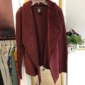 Grace Elements Suede Shearling Cardigan